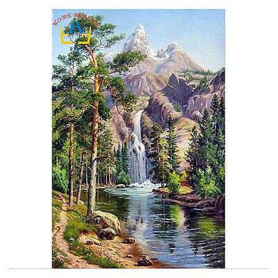 oil paint painting by numbers diy picture waterfall hand coloring landscape B9P1