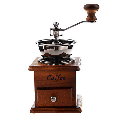 Manual coffee grinder Wood / metal hand mill Spice mill (wood color) Y4K9