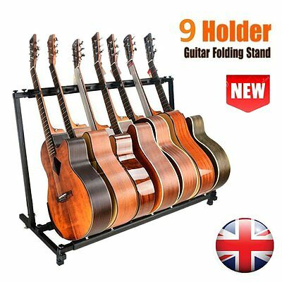 9 Nine Multiple Bass Guitar Stand Multi Rack Hanger Guitar Display Folding Rack