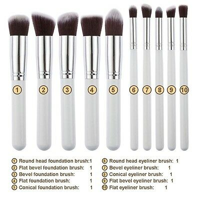 10x Kabuki Style Professional Make up Brush Set Foundation Blusher Face Powder d