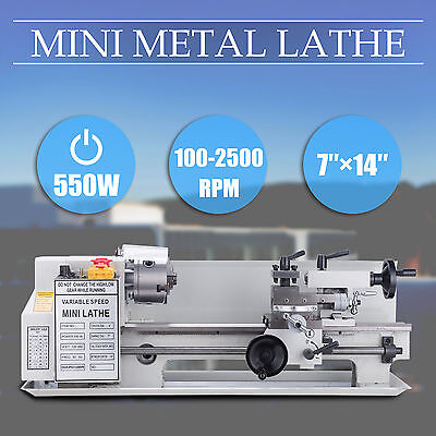 "550W 7"" x 14""Mini Metal Lathe Machine Variable Speed 0-2500 RPM High Precision"