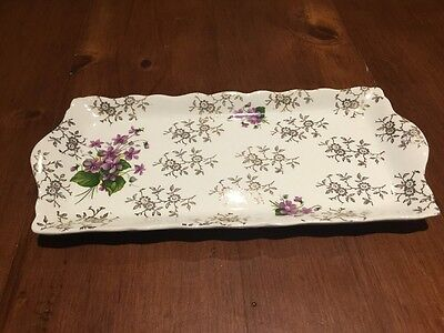 Old Foley James Kent sandwich Plate White With Purple Flowers, Made In England