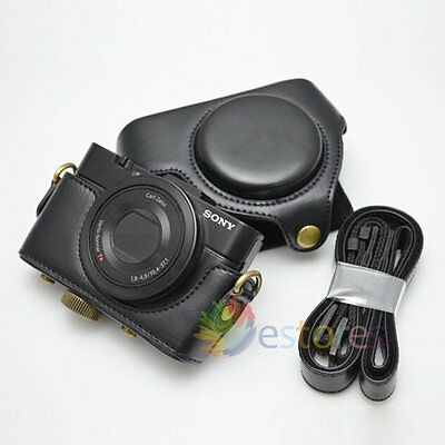 PU Leather Camera Protector Case Bag Cover & Strap For Sony RX100 I II III Black