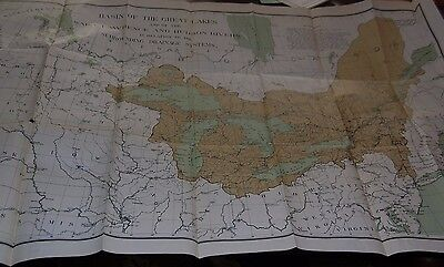 1896  Large Antique COLORED Map of Canada, St Lawrence River & The Great Lakes
