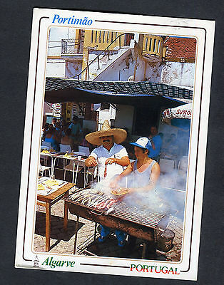 Posted c1990 View of Grilling Sardines, Portimao, Algarve, Portugal