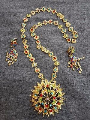 TRADITIONAL dance THAI JEWELRY NECKLACE earring accessories Pendant NEW VTG gold