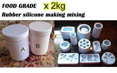 FOOD GRADE Silicone Rubber Mould making Mix 2KG 1:1 Translucent
