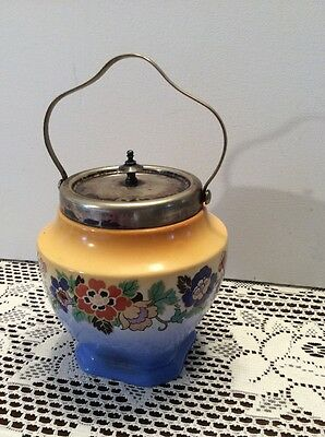 Antique Procelain & Silverplate Cracker or Biscuit Jar with Lid & Handle England