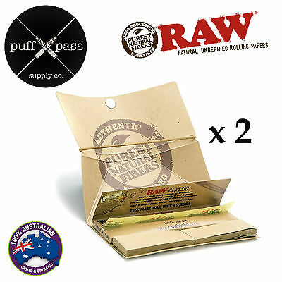 RAW CLASSIC ARTESANO KING SIZE SLIM ROLLING PAPERS TIPS TRAY SMOKING x 2 PACKS