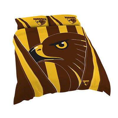 Hawthorn Hawks 2017 AFL Quilt Cover Set Single Double Queen King Pillowcase BNWT