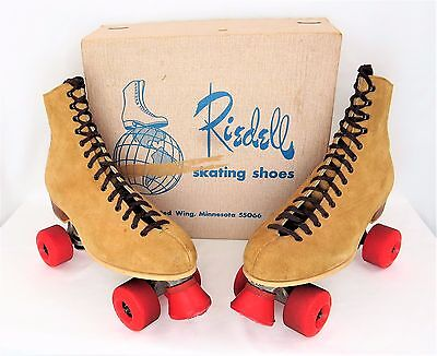 Mens Nice VTG Riedell 130M Suede Leather Roller Skates Chicago 9A Size 10 w/ Box