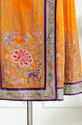 Antique Chinese Silk Hand Embroidered Peking Wrap Skirt Pleated Han