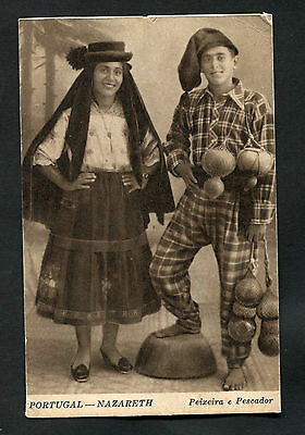 C1920s View: Couple in Traditional Dress from Nazaré, Portugal