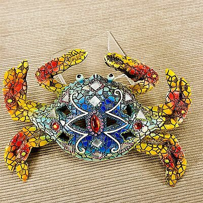 Mosaic Crab Figurine Wall Decor w/ Red Jewels Mirror Accent Tiles Marine Ocean