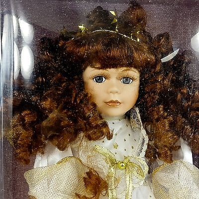 "Collectible Memories Porcelain 16"" Angel Doll Red Brown Hair Gabrielle Gold Gown"