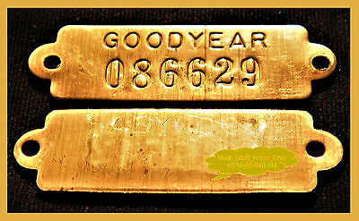 "Goodyear Tire & Rubber Company - Antique Brass ""inventory Tags"" - Two Tags"