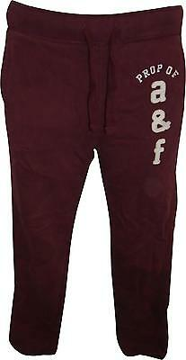 USED Boys Abercrombie&Fitch Burgundy&White Logo Bottoms Size Large (T.H)