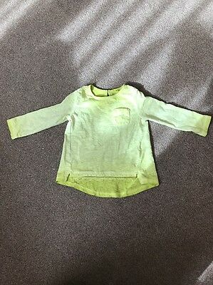 Next Baby Girl Lime Green Top 9-12 Months