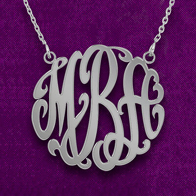 925 Sterling Silver Monogram Necklace - Custom Made Pendant with Any Initial