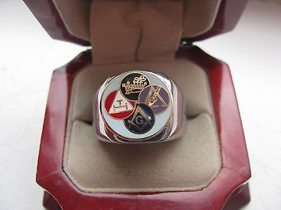 Superb NEW! Mens Masonic Masons York Rite Crest Stainless Steel Silver Ring