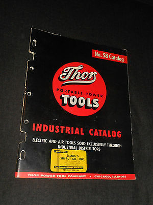 VINTAGE 1960's THOR PORTABLE POWER TOOLS INDUSTRIAL CATALOG BOOK No. 58  RARE