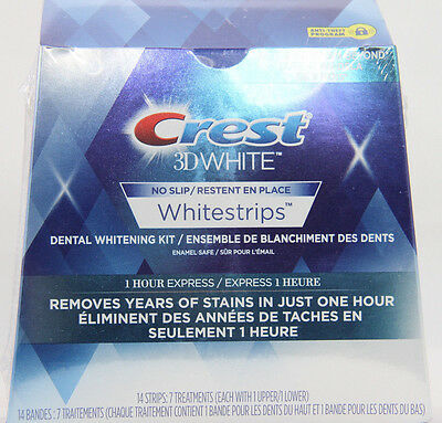 CREST 3D WHITE WHITESTRIPS 1-HOUR EXPRESS 14 Strips 7 TREATMENTS