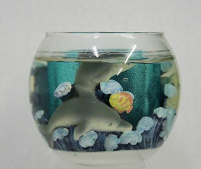 DOLPHIN Gel Tea light CANDLE HOLDER with candle NEW IN BOX