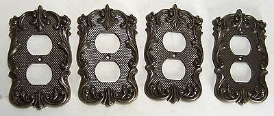 Four (4) Vintage National Lock Ornate Solid Brass Outlet Covers