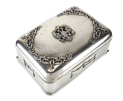84 Silver Jewelry Box Russian Imperial Eagle Double-Headed Coat of Arms, 19th C