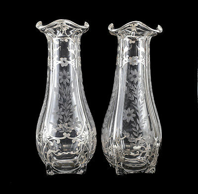 Pair Large American Sterling Silver Overlay Etched Glass Vases, circa 1900