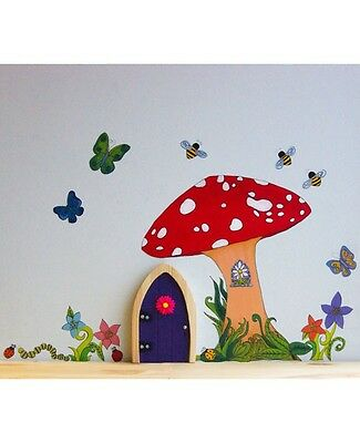 Original IRISH FAIRY DOOR Toadstool Reusable Wall Decal  Vinyl Sticker Set
