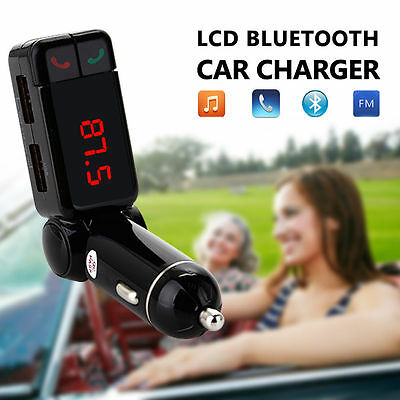 LCD Bluetooth Car Kit MP3 FM Transmitter USB Charger Handsfree 4 iPhone Samsung