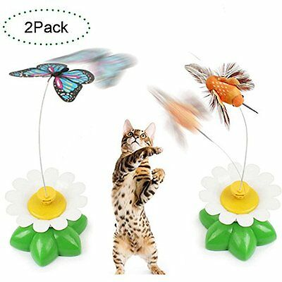 CreaTion® Set of 2 Electric Pole Butterfly Interactive Toy For Cat/ Kitten