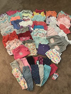 Huge EUC 64 Pc Girl Baby Clothes Lot 0-3 Month