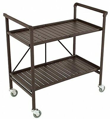 Folding Metal Foldable Rolling Kitchen Mobile Bar Serving Cart Two Double Shelf