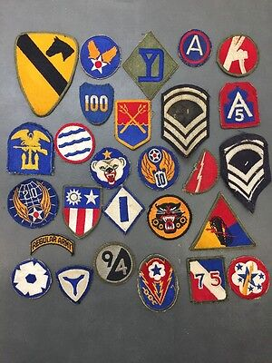 Lot Of 27 Vintage WWII Era Original Patches Army Marines Etc