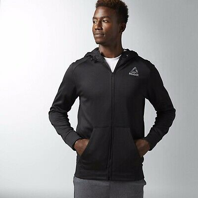 New Men's REEBOK WORKOUT READY BLACK FLEECE FULL ZIP HOODIE - S99118 - MSRP $50