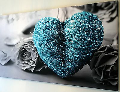 """Turquoise Heart Canvas Wall Art Picture Large 18"""" X 32"""" Inch"""