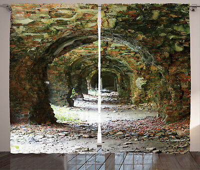 Antique Decor Curtains Medieval Tunnel Window Drapes 2 Panel Set 108x84 Inches