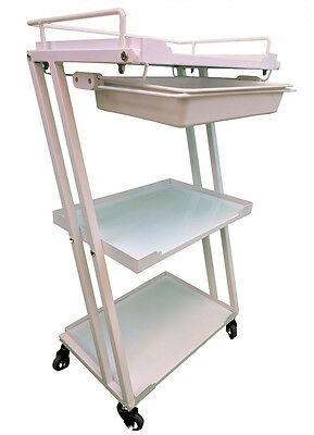 Salon Beauty Treatment 3 Shelve white metal Trolley Cart with Top Drawer