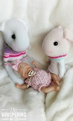 OOAK baby girl doll handmade partial sculpt jointed moving moses basket mini