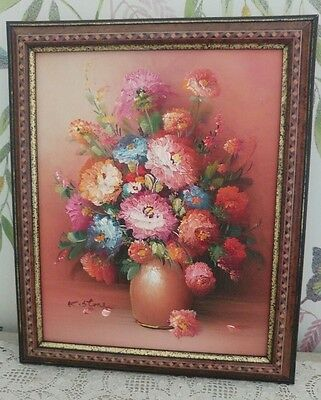 Shabby Chic Vintage Brown Framed Oil Painting Vase Of Flowers Signed