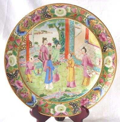 C19Th Chinese Famille Rose Canton Plate Decorated With Ladies In A Garden