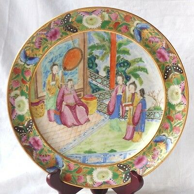 C19Th Chinese Famille Rose Canton Plate Decorated With A Wise Man In A Garden