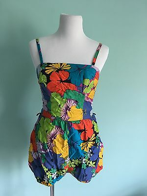 Vintage 50's Cotton Floral Swimsuit Bathing Suit Romper Brigance for Sinclair