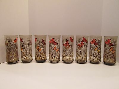 Set 8 Vintage Libbey Butterfly Butterflies Wheat Tumblers Ice Teas Water Glasses