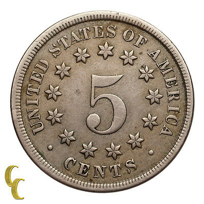1868 Shield Five Cent Nickel 5C (Extra Fine, XF Condition) All Natural Color!