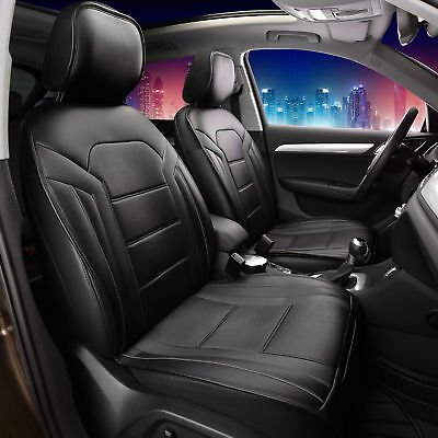 Deluxe Leatherette with Non-Slip Backing Car Cushion Pad Front Black