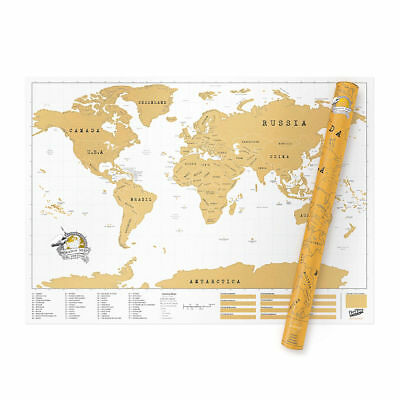 Deluxe Large Scratch Off World Map Poster Personalized Travel Vacation  Gift Uk