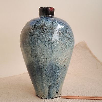 """Old Chinese Jar 9"""" Blue Hare's Fur Glaze Meiping Vase Song Dynasty China Antique"""
